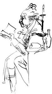 Carl Michael Bellman, tecknad av Sergel